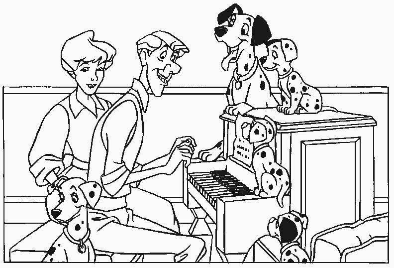 Coloriage a imprimer 101 dalmatiens ecoutent le piano gratuit et colorier - Coloriage piano ...
