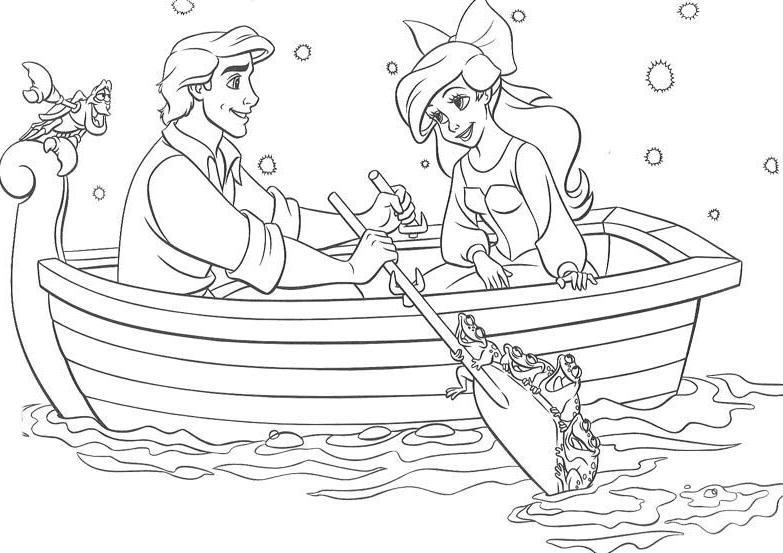 Coloriage A Imprimer Arielle La Petite Sirene En Barque Avec