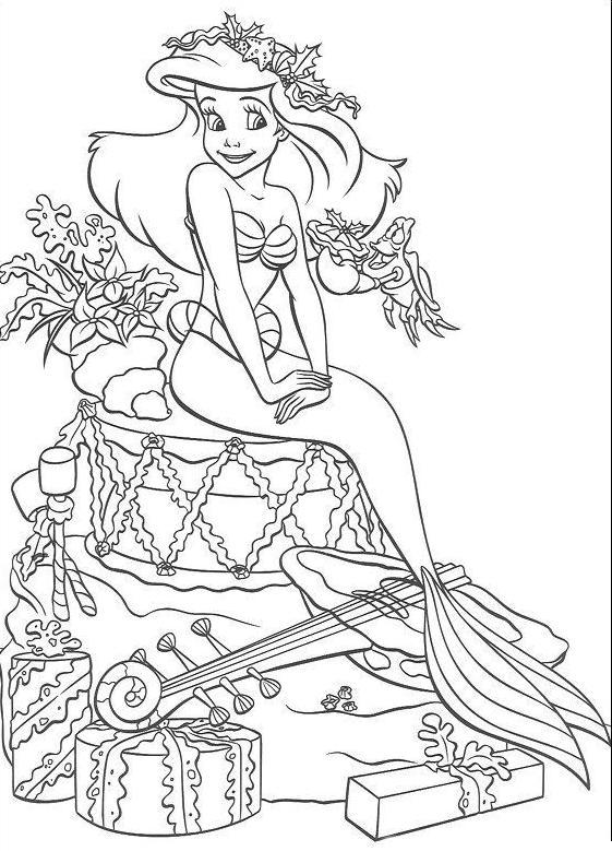 Coloriage A Imprimer Arielle La Petite Sirene Et Les Cadeaux
