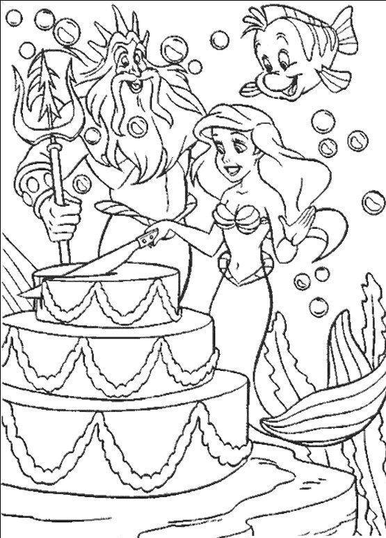 Coloriage A Imprimer Arielle La Petite Sirene Et Son Papa