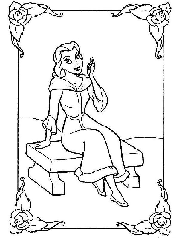 Coloriage a imprimer belle assise sur un banc gratuit et colorier - Banc coloriage ...