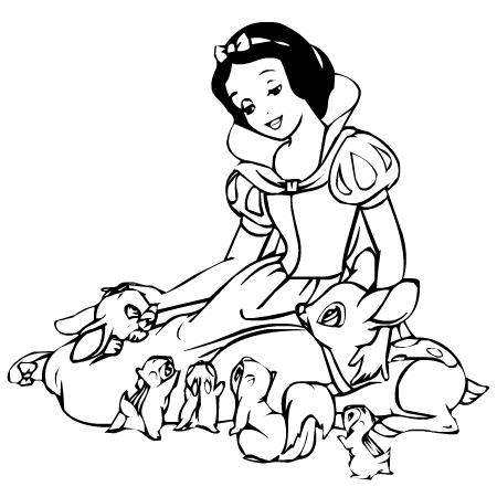Coloriage a imprimer blanche neige et ses amis les animaux gratuit et colorier - Coloriage 7 nains ...