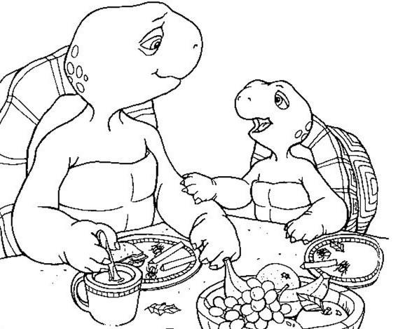Coloriage a imprimer franklin a table avec papa gratuit et - Dessin franklin ...