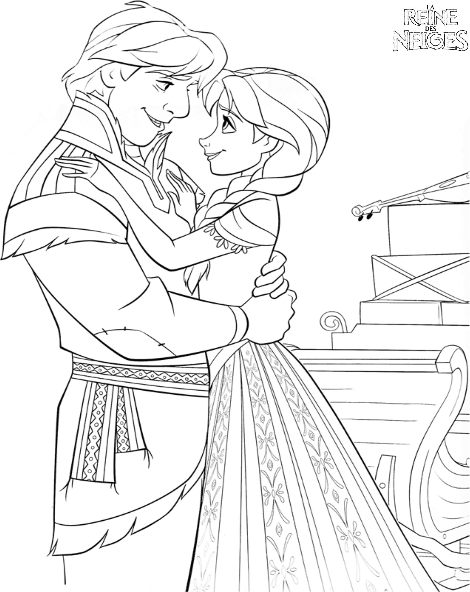 coloriage a imprimer kristoff et anna amoureux gratuit et colorier. Black Bedroom Furniture Sets. Home Design Ideas