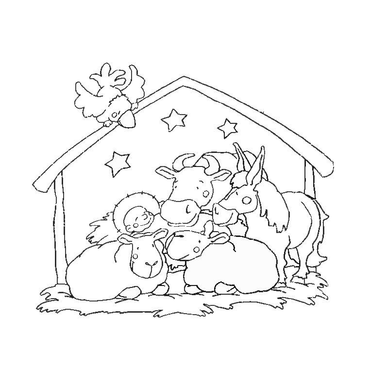 Coloriage A Imprimer Animaux Creche De Noel Gratuit Et Colorier