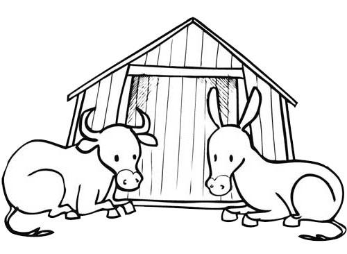 Coloriage a imprimer animaux devant la creche de noel - Creche de noel a imprimer ...