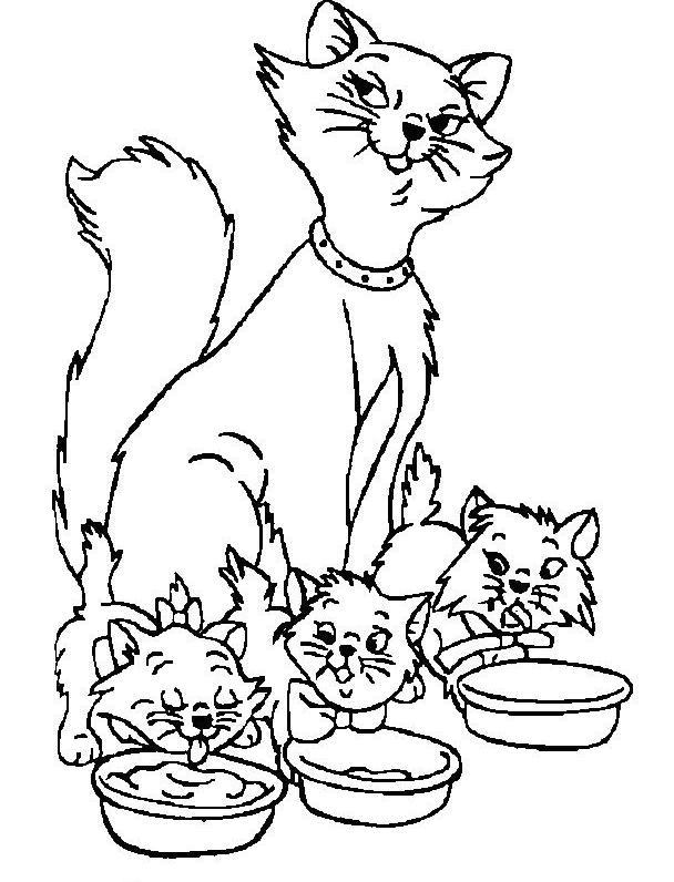 Coloriage a imprimer aristochat la maman et les chatons qui mangent gratuit et colorier - Coloriage chaton a imprimer ...