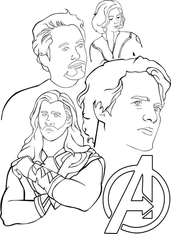 coloriage a imprimer avengers portrait gratuit et colorier