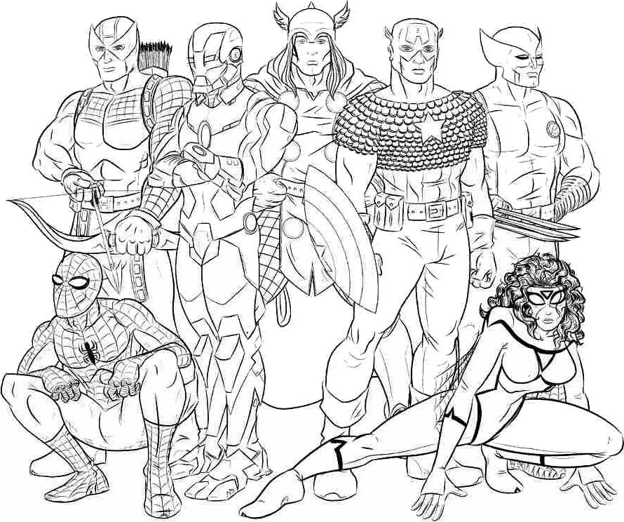 Coloriage A Imprimer Avengers Prennent La Pose Gratuit Et Colorier