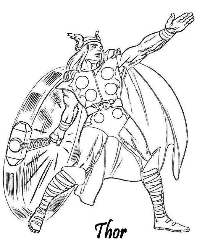 coloriage avengers thor et son marteau