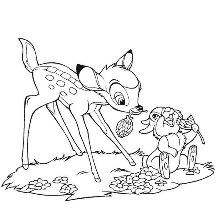 Coloriage a imprimer bambi et pampam avec les fleurs gratuit et colorier
