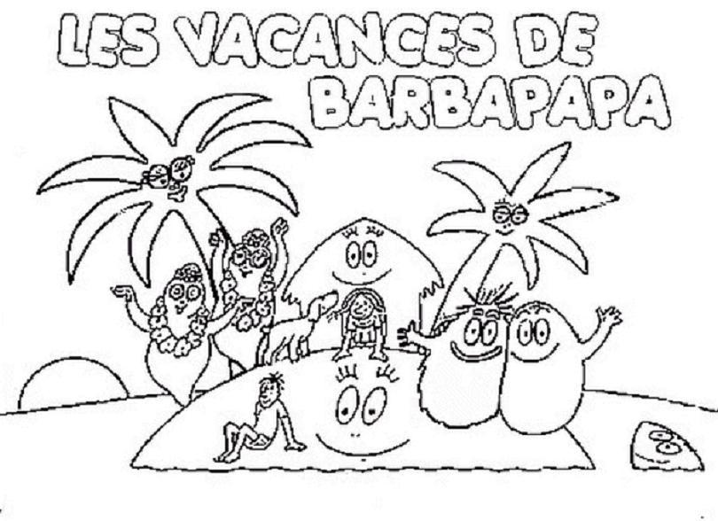 Coloriage a imprimer barbapapa en vacances gratuit et colorier - Barbapapa coloriage ...