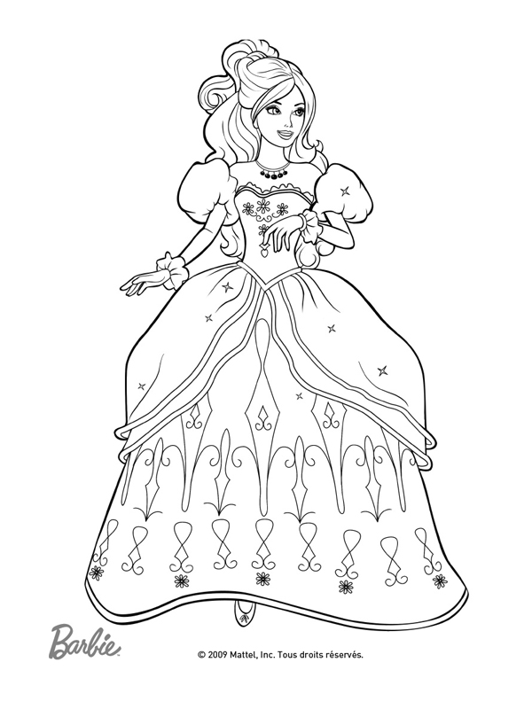 Coloriage a imprimer barbie aramina et sa belle robe - Barbie princesse coloriage ...