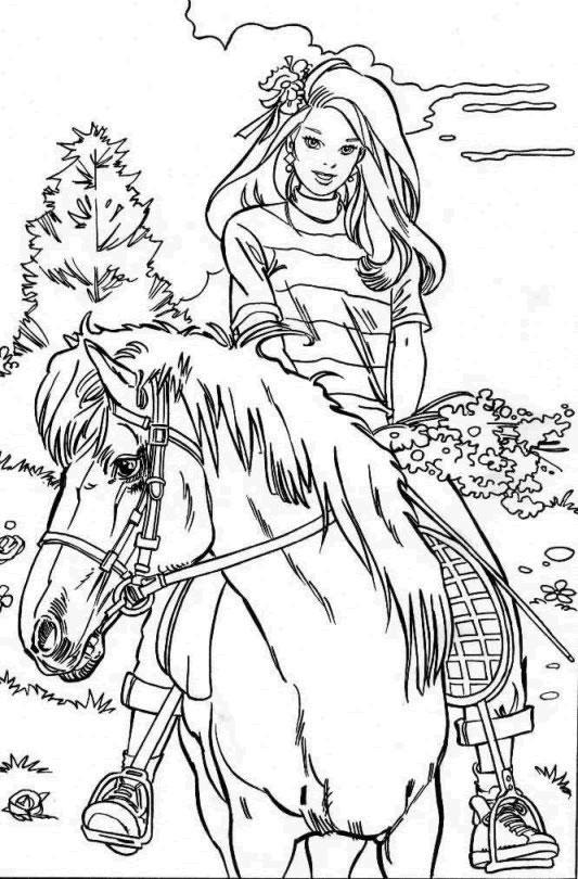 Coloriage à imprimer gratuit barbie et son cheval