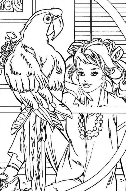 Coloriage a imprimer barbie et son perroquet gratuit et colorier - Perroquet a imprimer ...