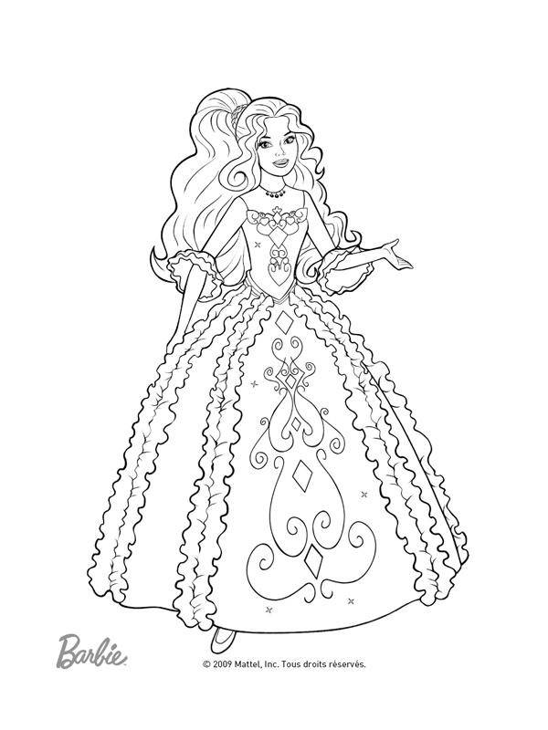 Coloriage A Imprimer Barbie Jolie Robe De Bal Gratuit Et Colorier