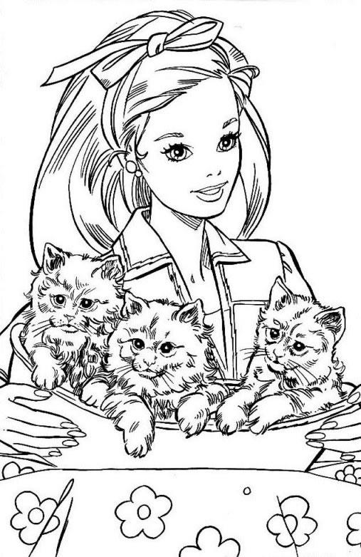 Coloriage a imprimer barbie veterinaire et ses chatons - Coloriages chatons ...