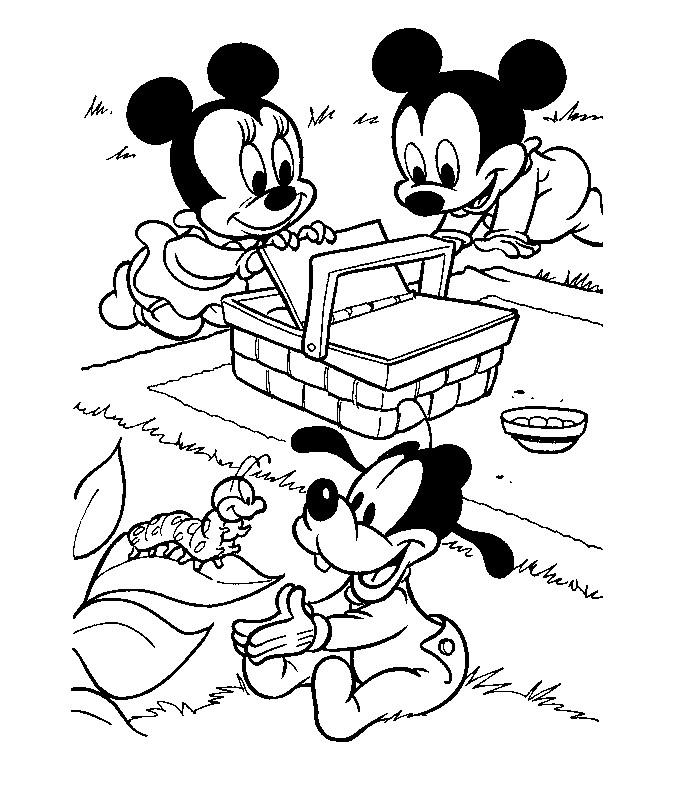 Coloriage a imprimer bebe mickey pique nique gratuit et - Dessin tete de minnie ...