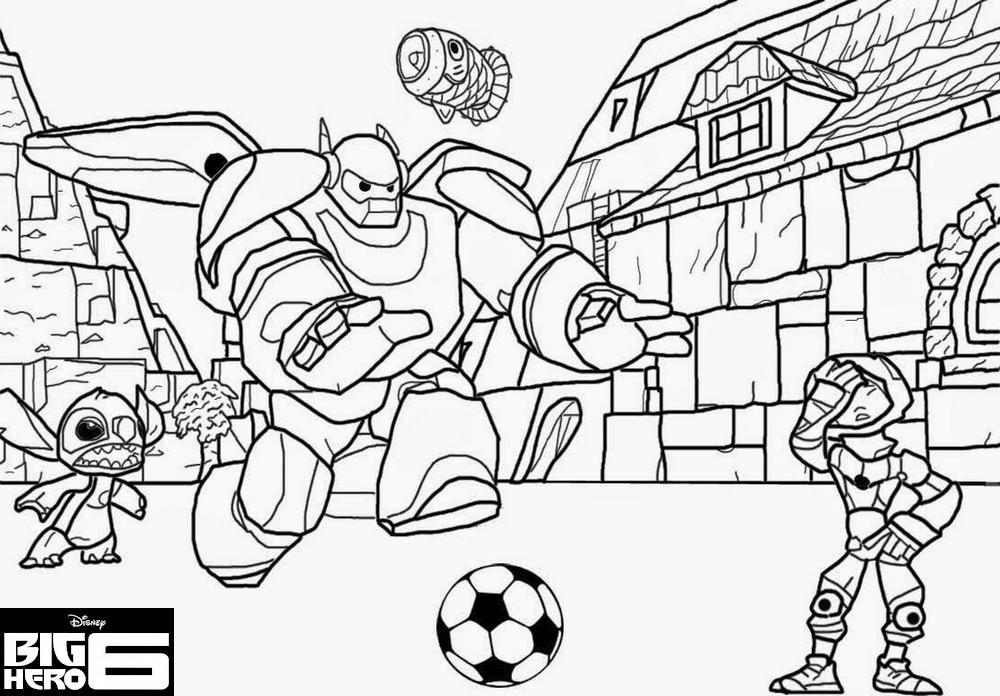Coloriage a imprimer big hero 6 partie de foot baymax - Coloriage a imprimer foot ...