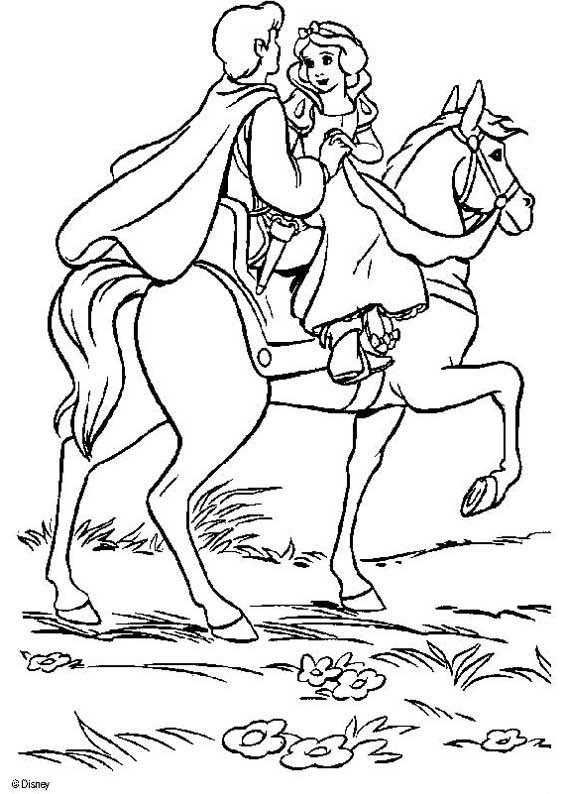 Coloriage a imprimer blanche neige a cheval avec son - Coloriage blanche neige a imprimer gratuit ...