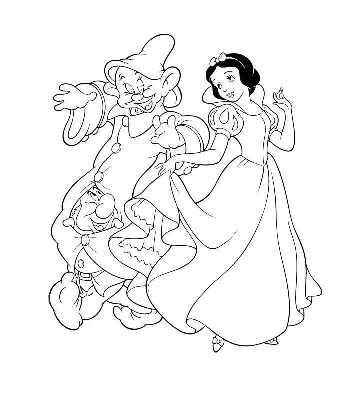 Coloriage Gratuit Blanche Neige.Coloriage A Imprimer Blanche Neige Danse Avec Les Nains Gratuit Et