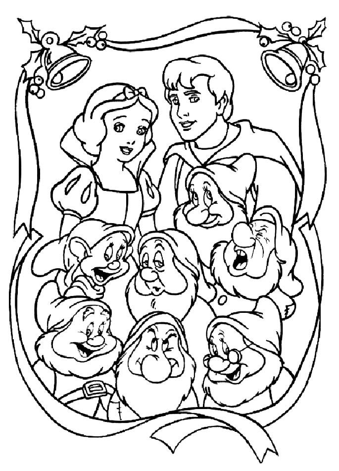 Coloriage a imprimer blanche neige portrait de famille - Coloriage blanche neige a imprimer gratuit ...