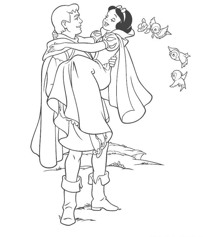 Coloriage A Imprimer Blanche Neige Dans Les Bras Du Prince