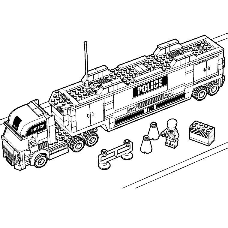 Coloriage Camion A Imprimer Gratuit.Coloriage A Imprimer Camion Police Lego Gratuit Et Colorier