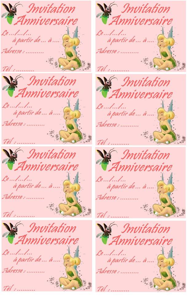 époustouflant Carte invitation anniversaire fee clochette | Lighteam #HE_27