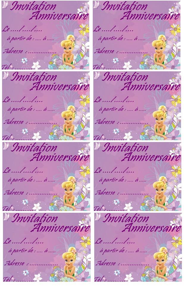 Le célèbre Carte invitation anniversaire fee clochette gratuite imprimer &RR_56