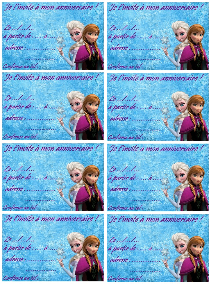 Carte invitation frozen reine des neiges a imprimer - Reine des neige a imprimer ...