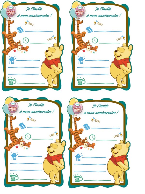 Carte invitation winnie ourson a imprimer - Ourson a imprimer ...