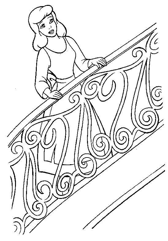 coloriage a imprimer cendrillon dans l escalier gratuit et colorier. Black Bedroom Furniture Sets. Home Design Ideas