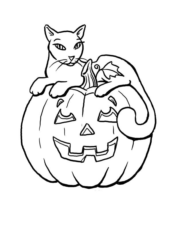 Coloriage A Imprimer Chat Sur Citrouille D Halloween Gratuit Et Colorier