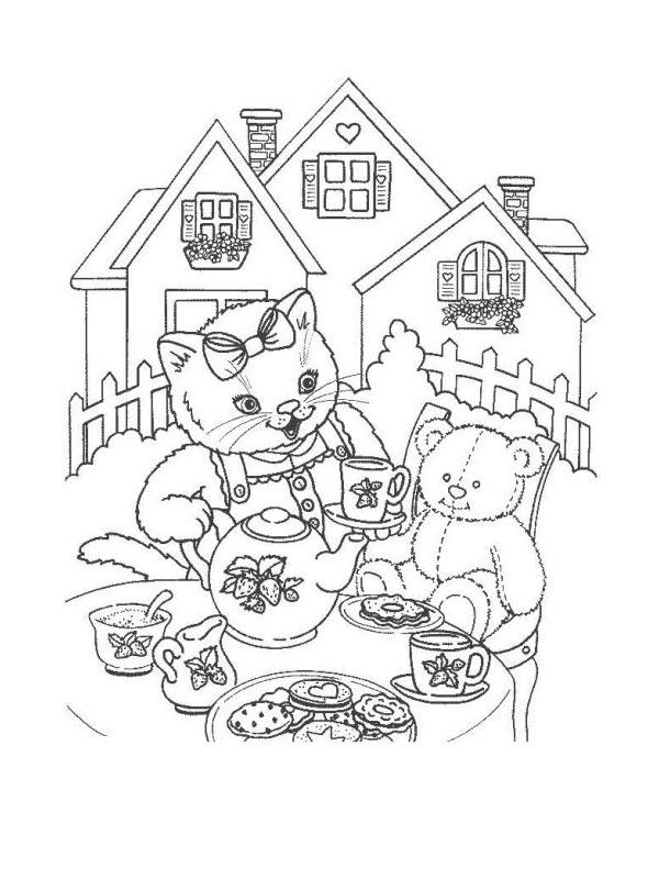 Coloriage a imprimer chatte jouant a la dinette gratuit et - Coloriage chat a imprimer gratuit ...
