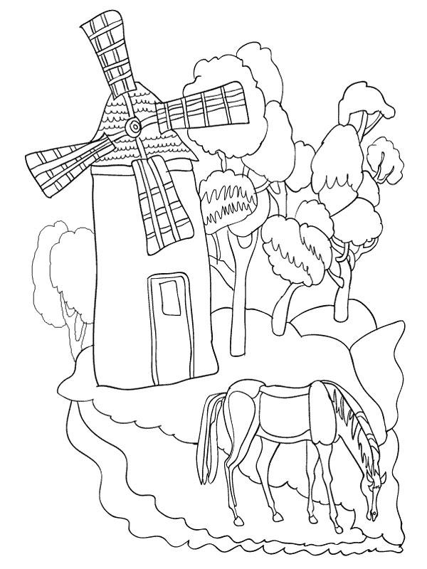 Coloriage a imprimer cheval broutant pres du moulin gratuit et colorier - Coloriage de chevaux a imprimer gratuit ...