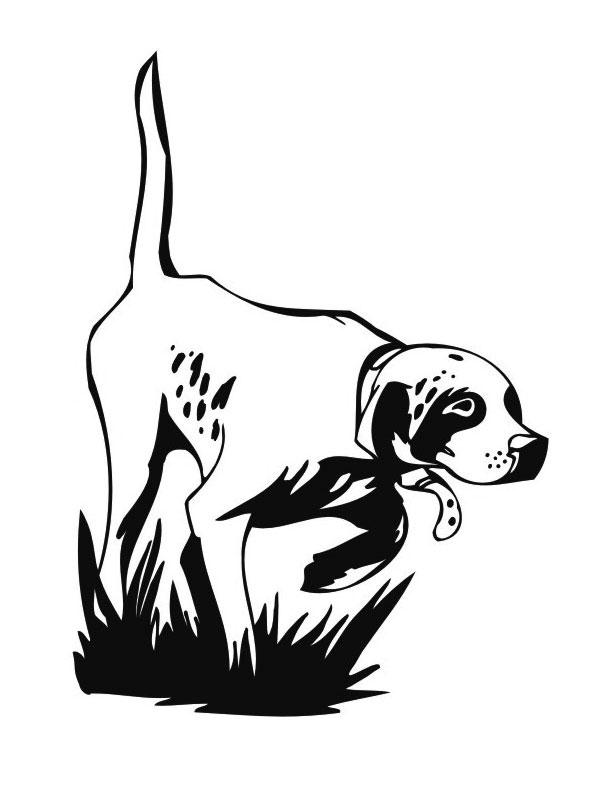 Coloriage a imprimer chien de chasse a l arret gratuit et - Dessin petit chien ...
