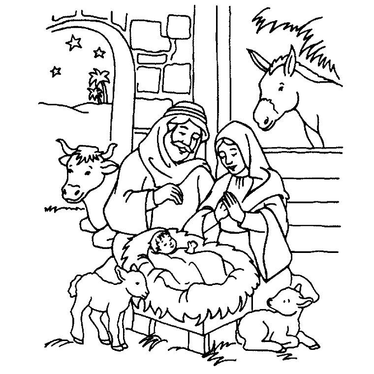 Coloriage a imprimer creche petit jesus gratuit et colorier - Creche de noel a imprimer ...