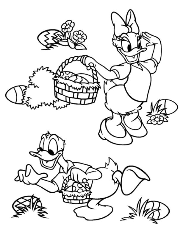 Coloriage a imprimer daisy et donald ramassent les oeufs - Donald coloriage ...