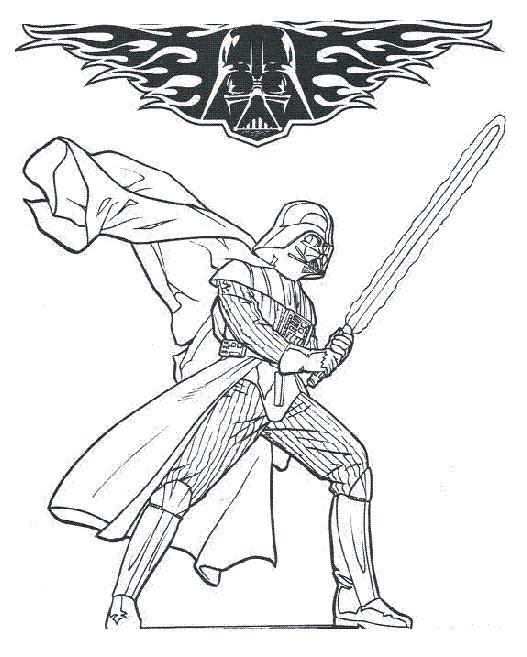 Coloriage a imprimer dark vador et son sabre laser gratuit - Star wars gratuit ...