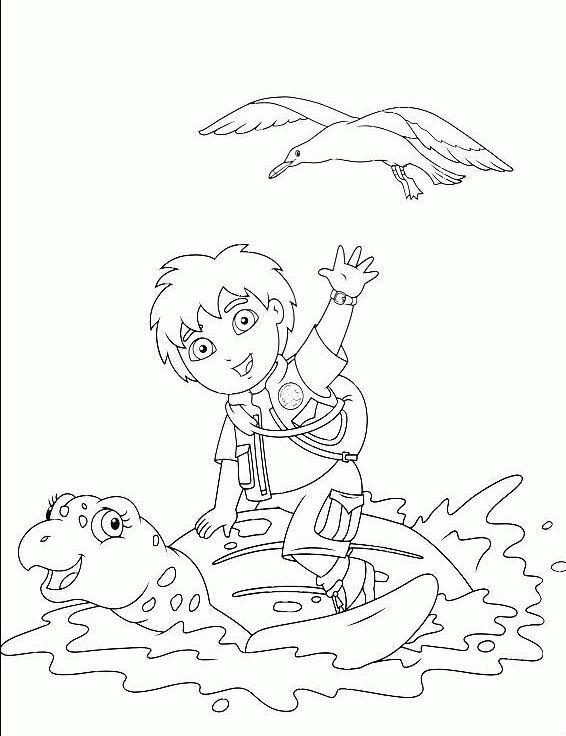 Coloriage a imprimer diego sur le dos d une tortue geante ...