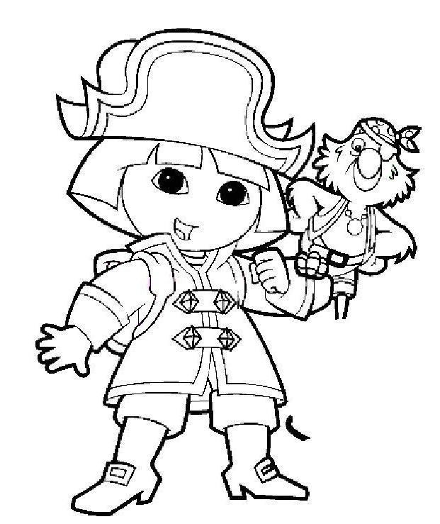 Coloriage a imprimer dora capitaine pirate gratuit et colorier - Coloriage tresor ...