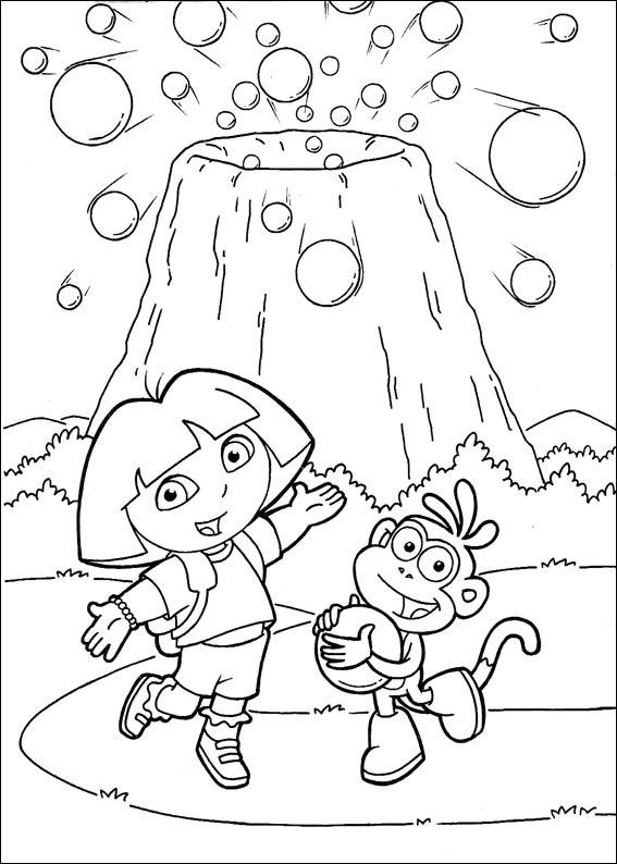 Coloriage a imprimer dora devant un volcan de bonbon - Volcan coloriage ...