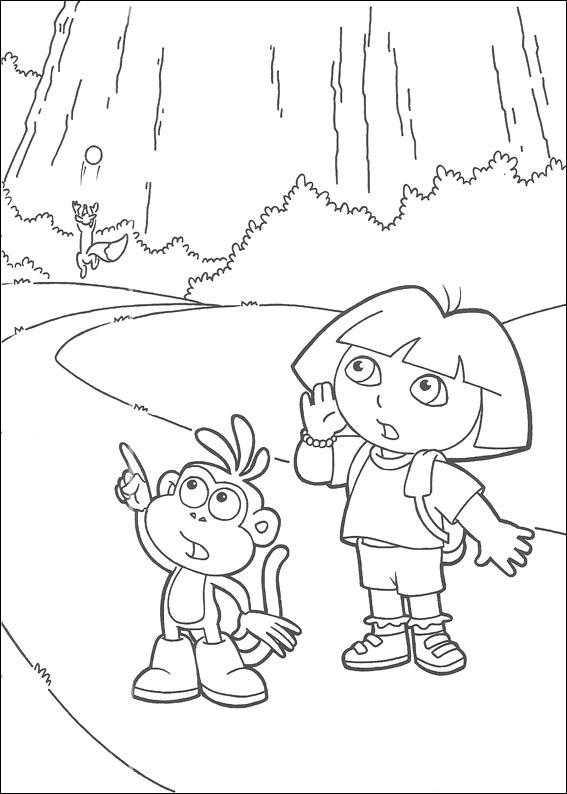 Coloriage a imprimer dora et babouche dans les bois - Dessin de dora et babouche ...