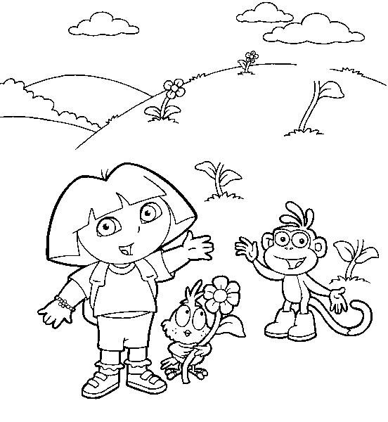 Coloriage a imprimer dora et babouche dans les fleurs gratuit et colorier - Coloriage dora gratuit a imprimer ...