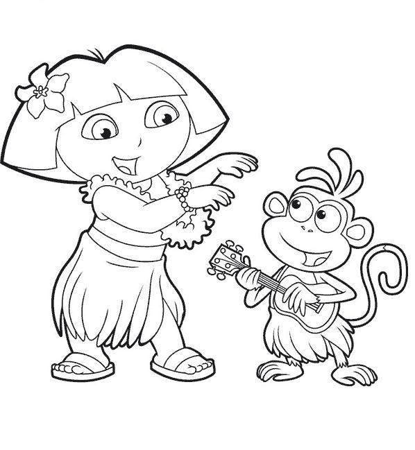 Coloriage a imprimer dora et babouche dansent a hawai - Dessin de dora et babouche ...