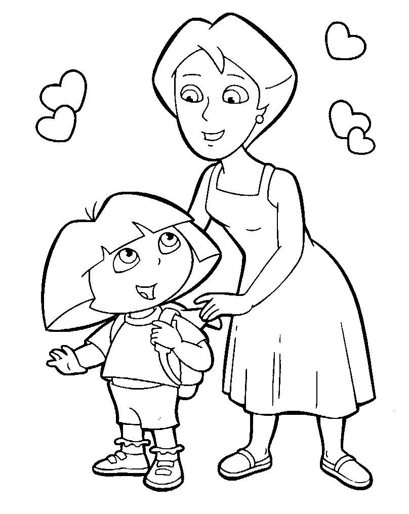 coloriage dora et sa maman - Coloriage Maman