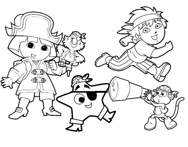 Coloriage a imprimer dora et ses compagnons les pirates gratuit et colorier - Coloriage dora gratuit a imprimer ...