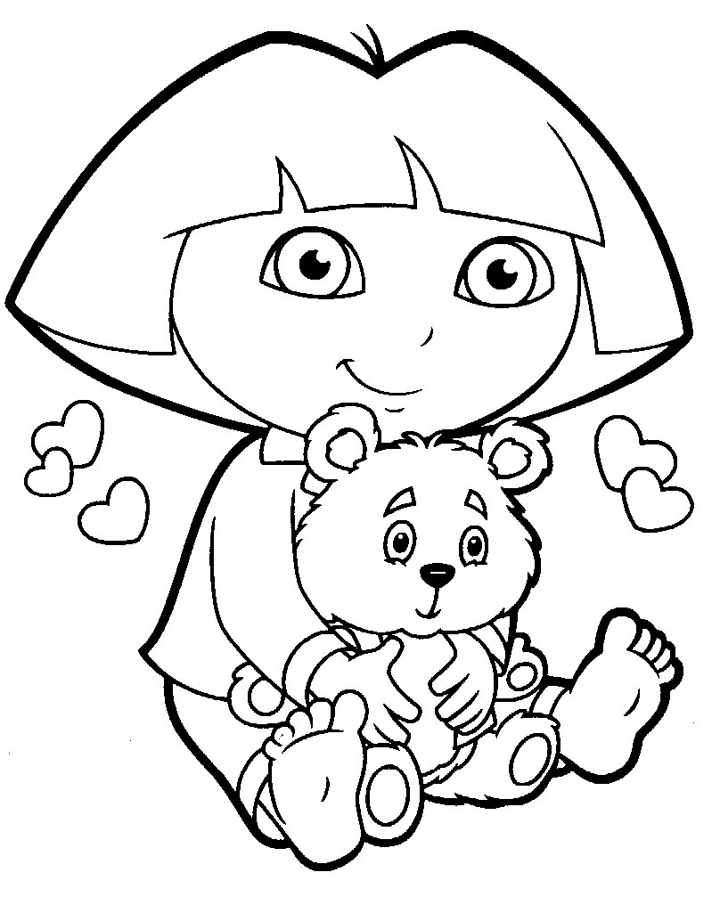 Dora Valentine Coloring Pages