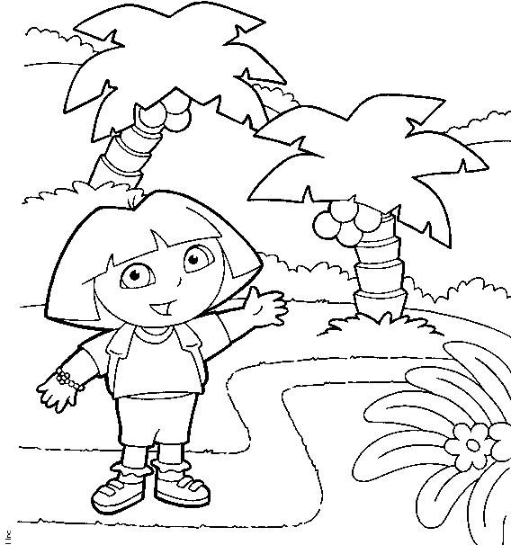 Coloriage a imprimer dora sous les palmiers gratuit et colorier - Coloriage dora gratuit a imprimer ...